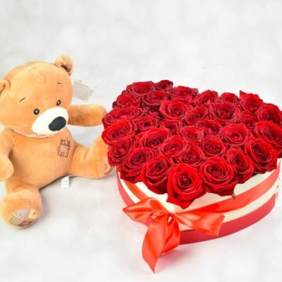 Pachet floral cu urs de plus